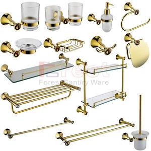Luxury Bathroom Golden Accessories Towel Bar Shelf Toilet