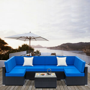 7pcs Outdoor Patio Furniture Couch Wicker Rattan W Cushions Sofa