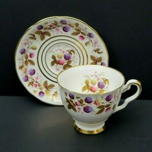 GOLDEN BRAMBLE ROYAL STAFFORD CUP SAUCER BERRIES GOLD EXCELLENT