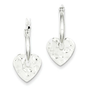 925-Sterling-Silver-Hinged-Polished-amp-Hammered-Heart-Dangle-Hoop-Earrings