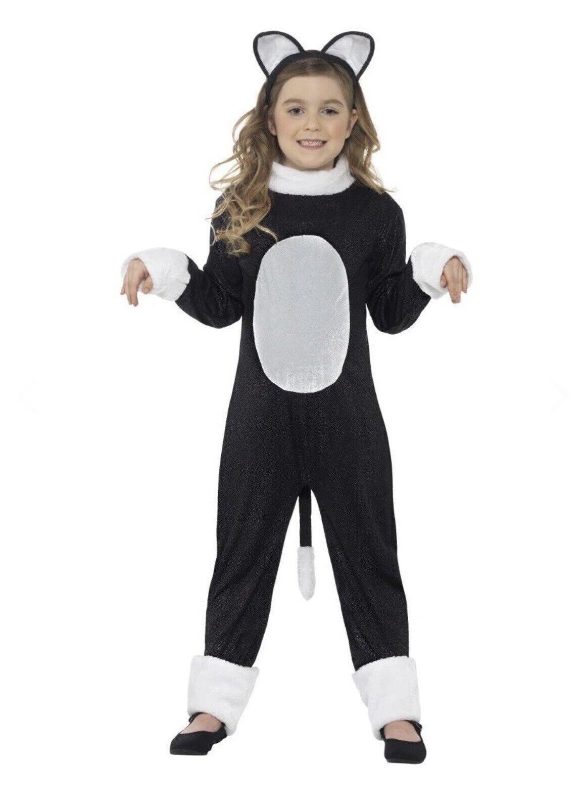 Children Black Cool Cat Kitty Feline Animal Fancy Dress Costume Book Day 10-12yr