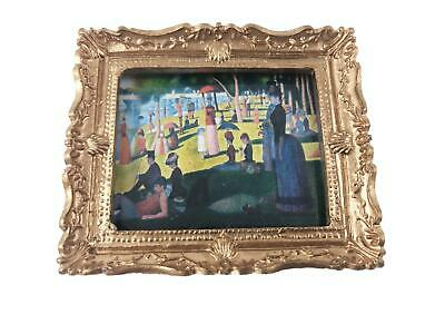Melody Jane Dollhouse Gold Framed A Sunday on La Grande Jatte Picture Painting Accessory