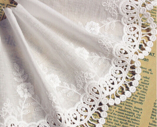 """2 yards Lace Trim Ivory Cotton Trim Embroidery Flower Floral Wedding 5.31"""" width"""