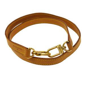 LOUIS-VUITTON-Logos-Shoulder-Strap-Leather-Brown-Vintage-Authentic-AK26108b