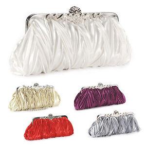 Mode Damentasche Clutch Brauttasche Abendtasche Hochzeit Handtasche Krause Satin
