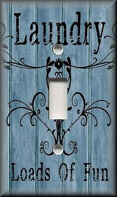 Light Switch Plate Cover - Laundry Loads Of Fun - Blue - Home Decor - Room