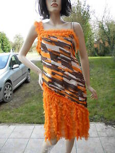 Haute Robe Couture 42 T Orange Degriffe Chocolat Soie aPxwU