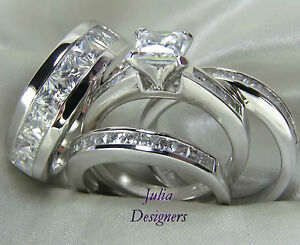 His Hers Engagement Wedding Band Ring Set Sterling Silver Mens