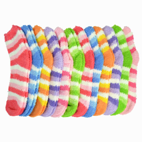 3 Pairs For Womens Soft Cozy Fuzzy Socks Home Winter Soft Warm Striped Slipper