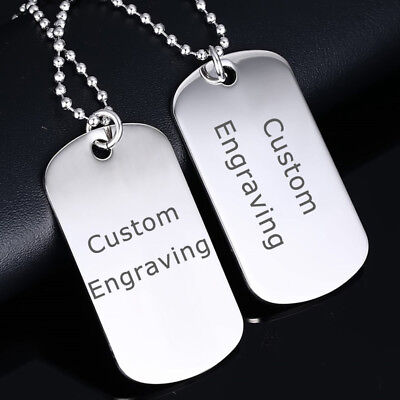 Men Stainless Steel Necklace Pendant Double Dog Tag Name ID Free Engraving Laser