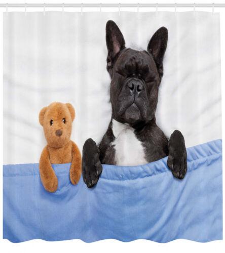 Französische Bulldogge mit Bären Tier Duschvorhang