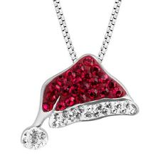 Crystaluxe Santa Hat Pendant with Swarovski Crystals in Sterling Silver