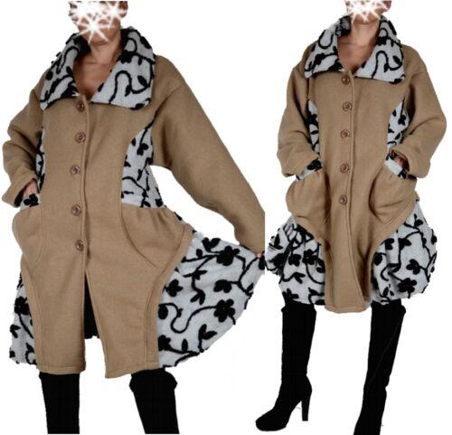 Da Donna Lagenlook Lana Inverno transizione Cappotto Trench Coat 44 46 48 50 Patchwork