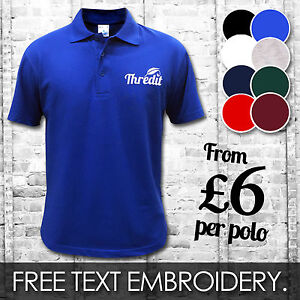 Custom embroidered printed polo shirts personalised for Wholesale polo shirts with embroidery