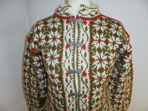 vintage-Norweger-Strickjacke-hand-made-hippie-norway-oldschool-Wolle-Gr-S