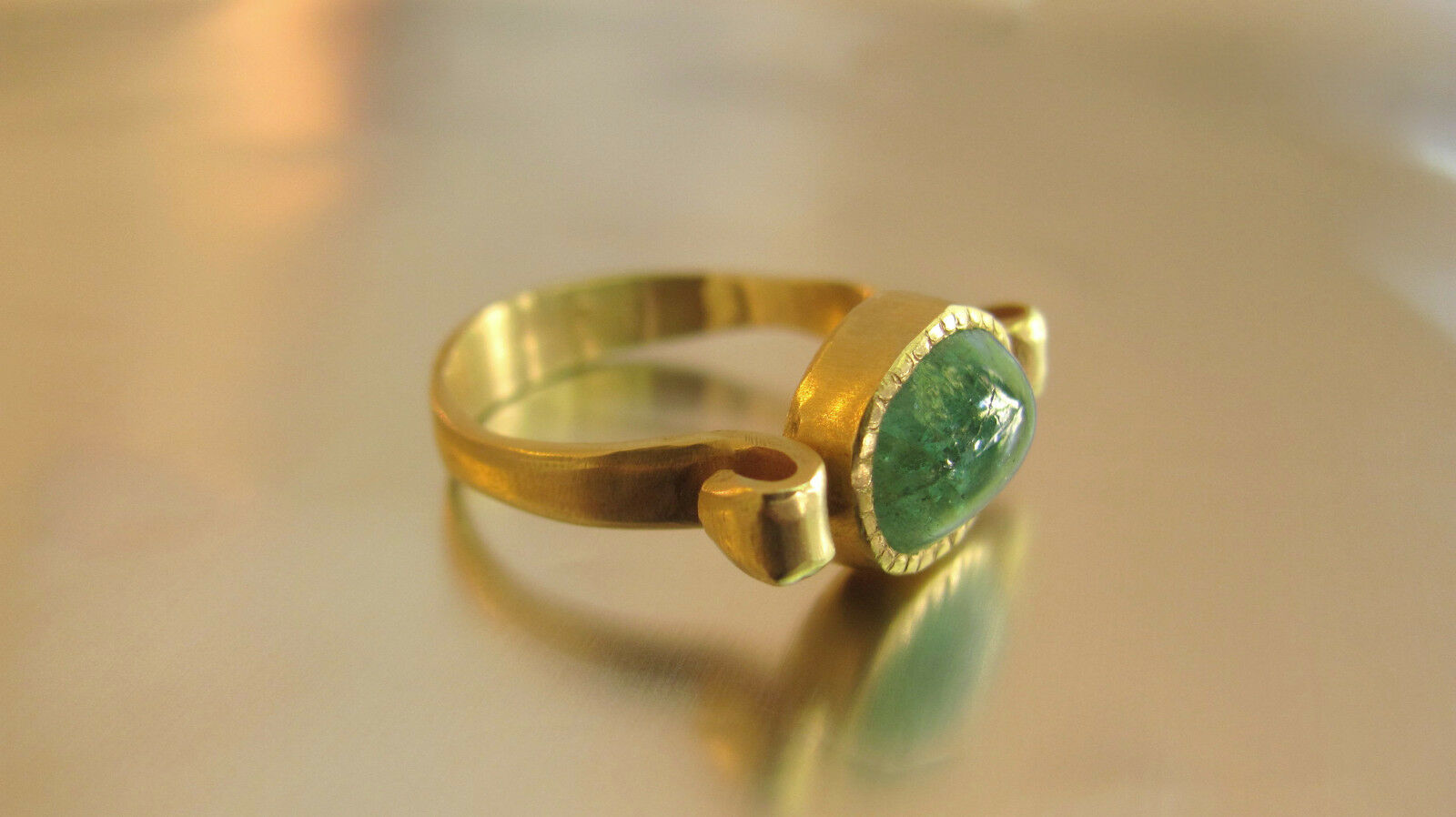 14K yellow gold unique Design ring with Emerald.Handmade unusual gold ring.