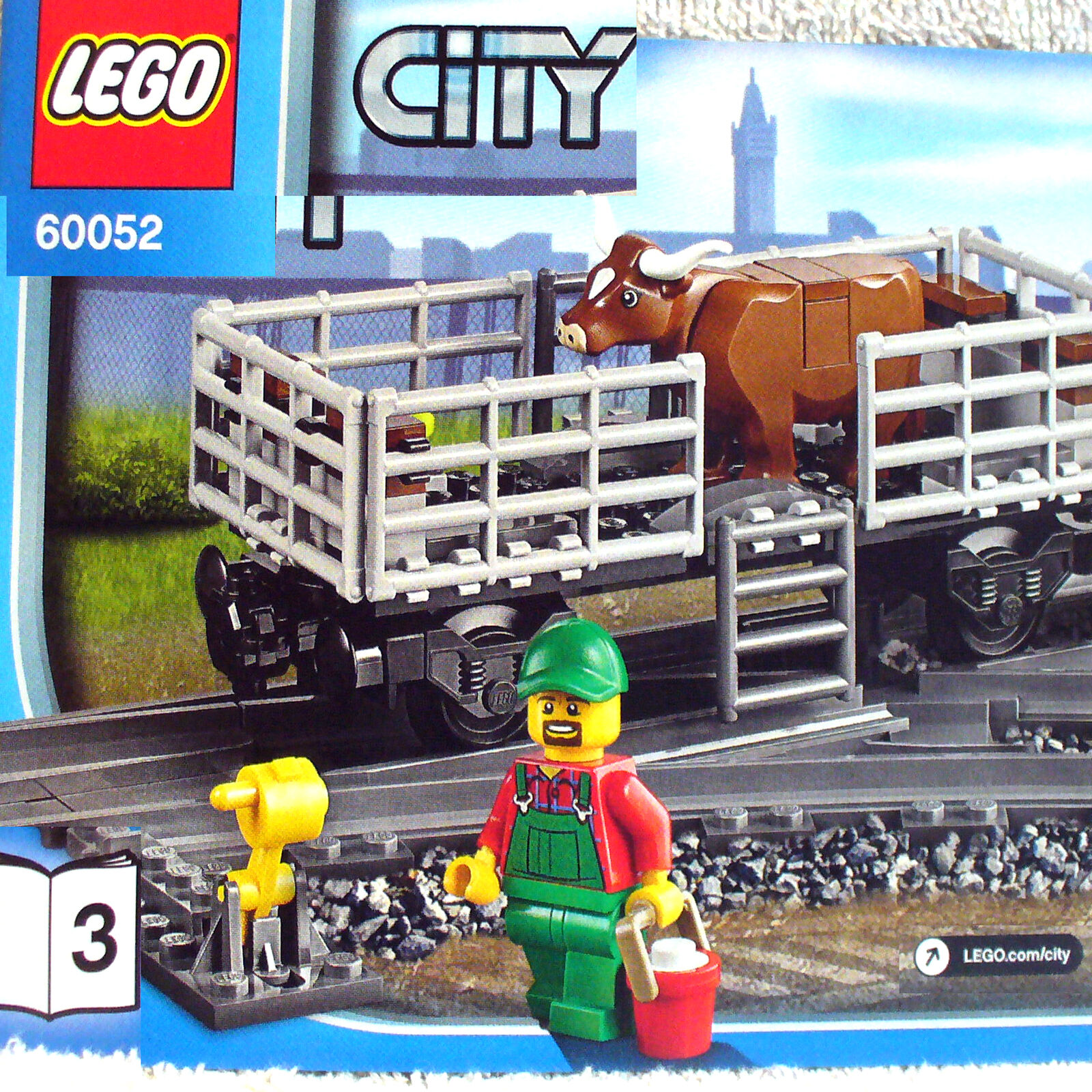 Lego Cattle Car w w w Farmer & Brown Cow Figure (City Cargo Train 60052 Book-3 B3) 287d47