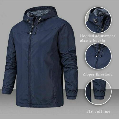 Men Waterproof Jacket Windproof Lightweight Hooded Windbreaker Hiking Rain Coat