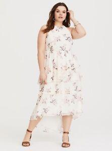 abf8982e39 Torrid size 4X 26 Floral Tiered Chiffon Womens Hi-lo Hem Maxi Dress ...