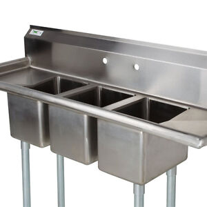 58 Stainless Steel 3 Compartment Commercial Dishwash Sink
