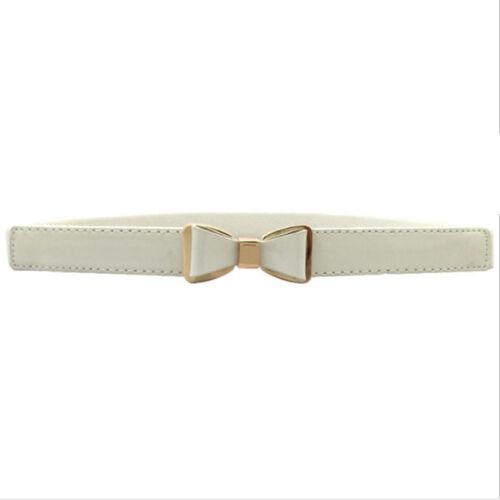 Women Wide Faux Leather Elastic Fashion Belt Bow Tie Buckle  KV