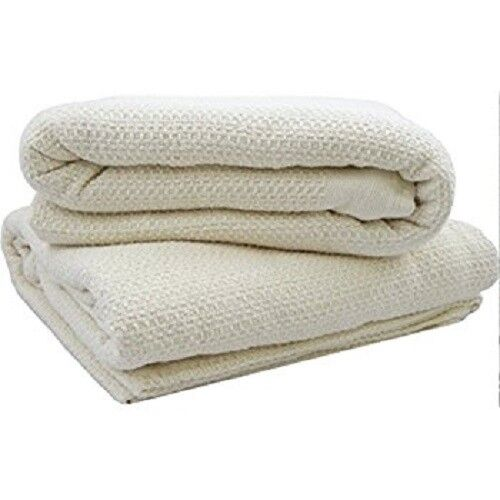 Full Organic Cotton Blanket Waffle Weave Ivory Natural Waffle USA Chemical Free