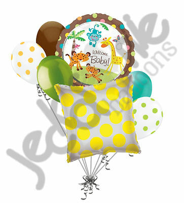 7 pc Welcome Baby Monkey Jungle Balloon Bouquet Welcome Home Baby Shower Safari