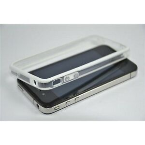 APPLE IPHONE 4 4G 4S CUSTODIA COVER BUMPER TPU BIANCO CON TASTI METALLICI