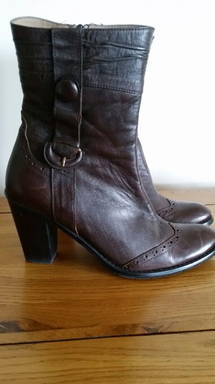 Designer Braun Leder VIVICCI brogue ankle boots uk 6 / 39