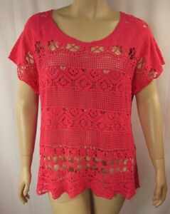Autograph-Pink-Macrame-Short-Sleeve-Cover-Up-Tunic-Top-Plus-Size-24-BNWT-N40