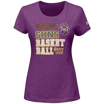 """Phoenix Suns ADIDAS """"Since 1968"""" Heathered Purple NBA T Shirt Women's"""