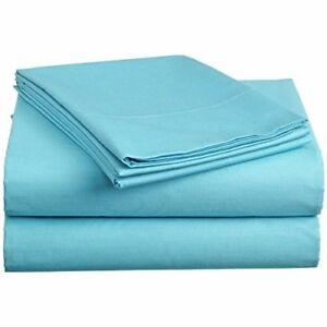 Bolsillo-profundo-1000-TC-coleccion-de-ropa-de-cama-100-algodon-seleccione-tamano-Aqua-Azul-Solido