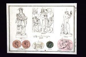 Sole-Silvano-Sileno-Sfinge-Incisione-colorata-a-mano-del-1820-Mitologia-Pozzoli