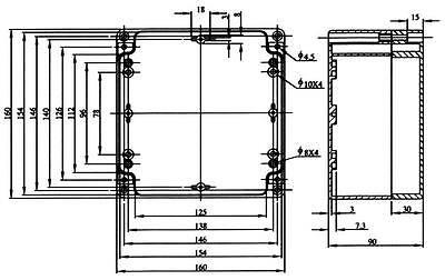 CONTENITORE PLASTICO IN ABS PER ELETTRONICA IP65 SCATOLA 115X65X40