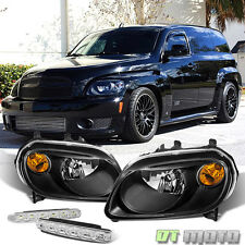 Black For 2006-2011 Chevy Hhr Replacement Amber Single Headlights+Smd Bumper Fog