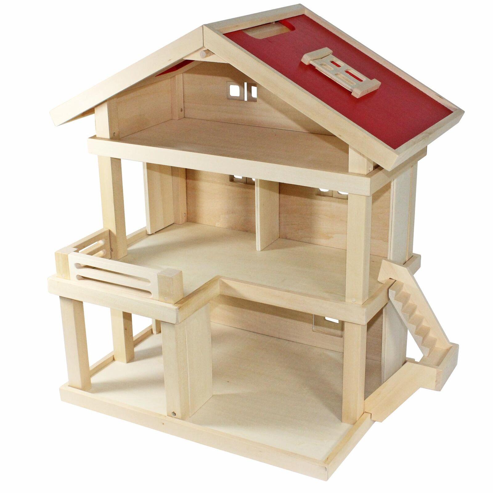 Villa Frota Puppenhaus Stadtvilla aus Holz mit 3 Etagen Tragegriff 46x35x58 cm