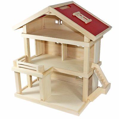 Villa Freda Puppenhaus Stadtvilla aus Holz mit 3 Etagen Tragegriff 46x35x58 cm