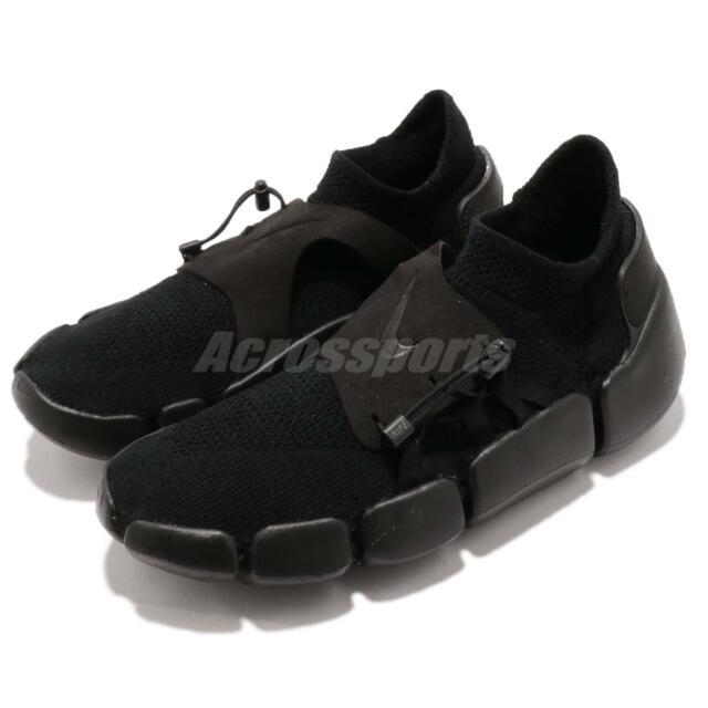 e7102da8915c Nike Footscape Flyknit DM Triple Black Men Running Lifestyle Slip On AO2611- 003