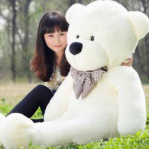 Fashion-White-Teddy-Bear-115cm-Big-Cute-Plush-Stuffed-Giant-Soft-Toys-Kids-Gift