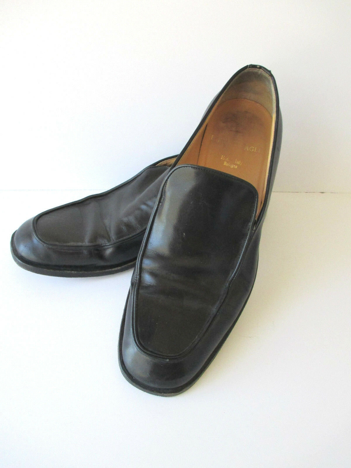 Bruno Magli Men's Loafers shoes 10.5M Black Leather Made in