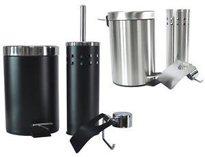 3tlg-Bad-Set-Chrom-Badezimmer-Set-Abfalleimer-Toiletten-WC-Buerste-Badgarnitur
