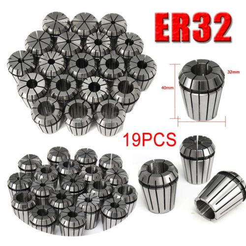 19PCS ER32 Precision Spring Collet Set For CNC Milling Lathe Tool Workholding US