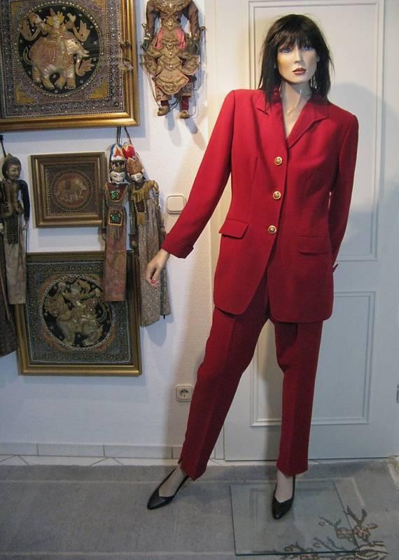 Pantaloni vestito TG 40 caldo rosso Appariscente bottoni per confusa con Medusa oro
