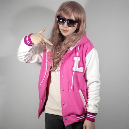 New Women Letter L Patch Hoodie Baseball Varsity Jacket XS S M L XL Pink Quality