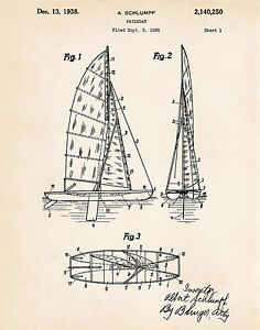Details About Gifts For Boaters Sailors Sailing Gift Ideas 1936 Schlumpf Patent Art Print
