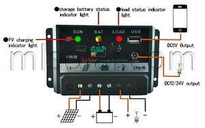 30a Amp Pv Solar Charge Controller Pwm W Usb 12 Volt Solar