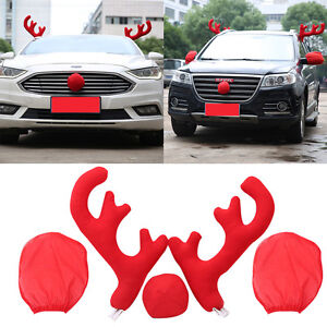 Christmas Car Decorations.Details About Lovely Two Horns Red Nose Reindeer Car Decor Christmas Party Decor For Car