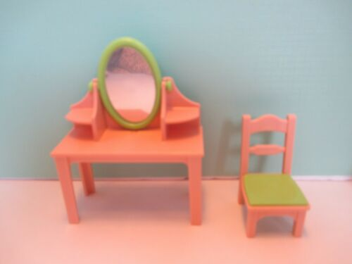 MATCHING CHAIR Playmobil furniture SET OF VANITY TABLE W// OVAL MIRROR
