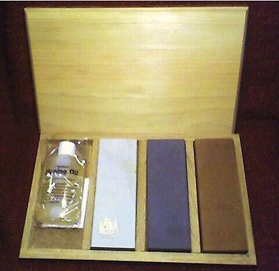 "Soft ARKANSAS Whetstones// Oil in Wooden Box.. 6/"" x 2/"" x 1//2/"" ARK Black Medium"