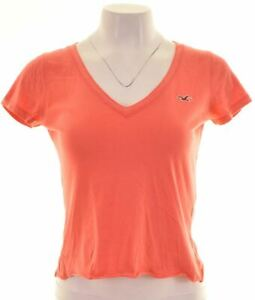 HOLLISTER-Womens-T-Shirt-Top-Size-10-Small-Pink-Cotton-DY10